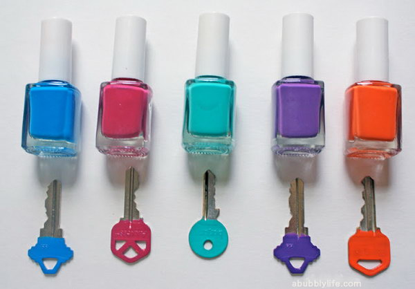 Identify Your Keys with Different Colors of Nail Polish