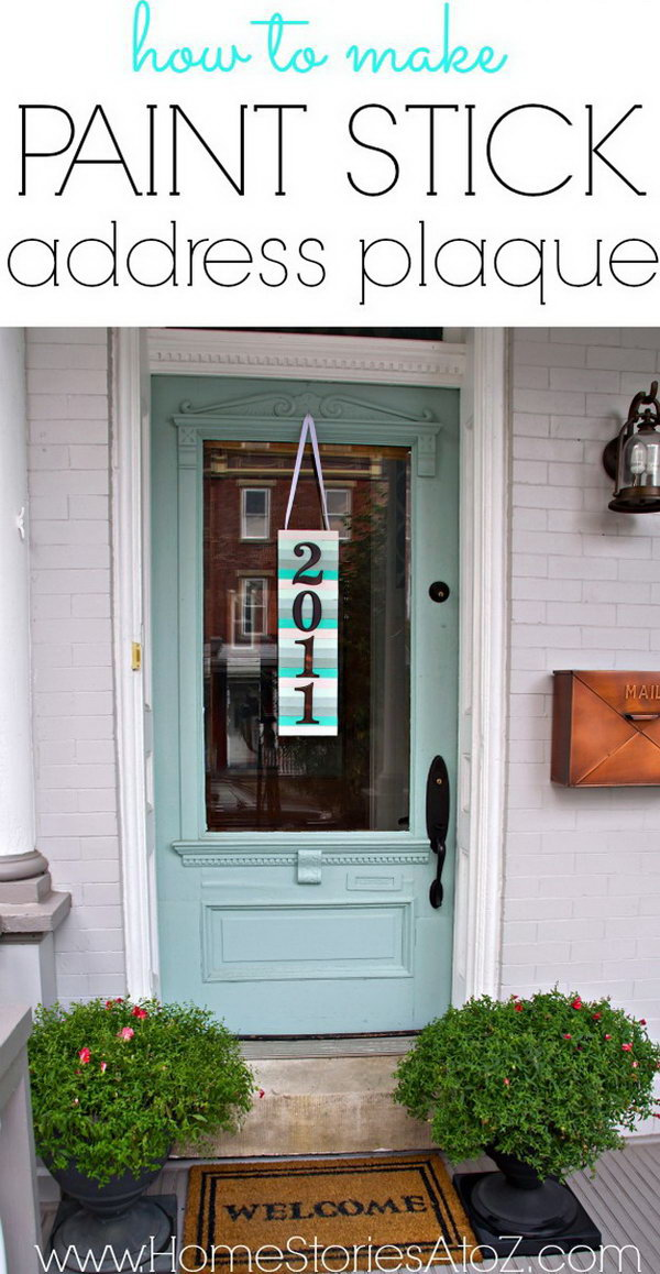 DIY Address Plaque Paint Stir Art