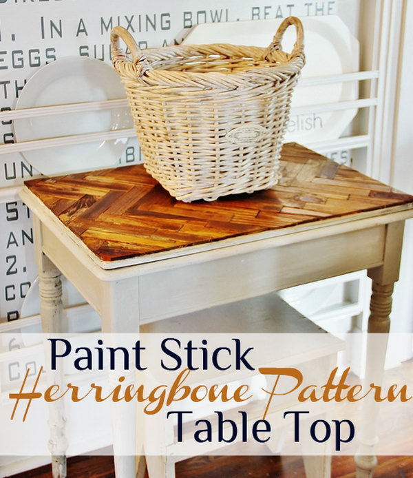 Herringbone Paint Stick Pattern Table Top
