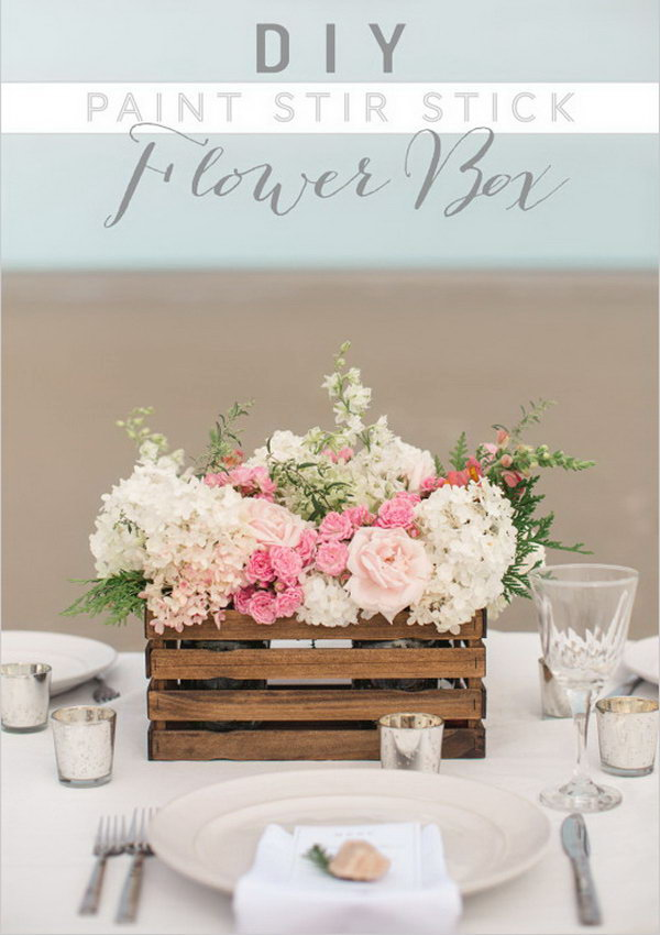 DIY Paint Stir Stick Flower Box Used as Centerpiece