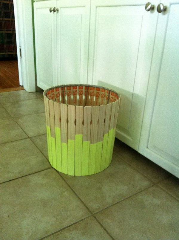 DIY Paint Stick Trash Can