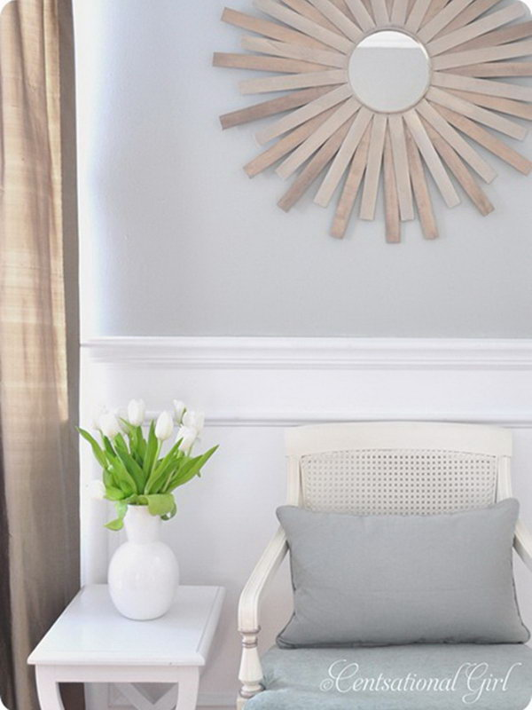 DIY Paint Stick Sunburst Mirror
