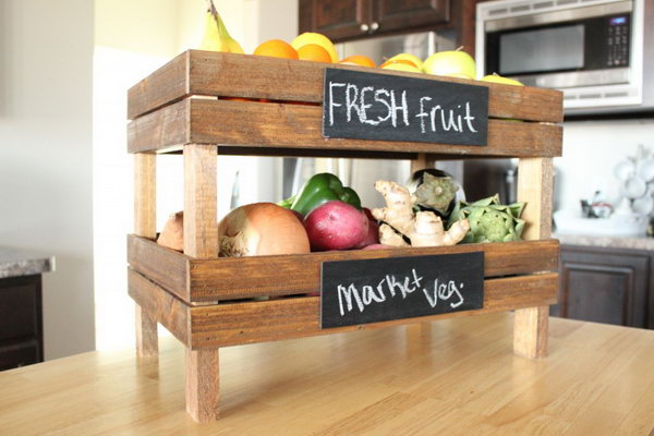 Pottery Barn Inspired DIY Stackable Fruit Crates