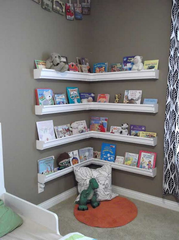 Reading Nook with L Shaped Plastic Rain Gutter Shelves for Book Display