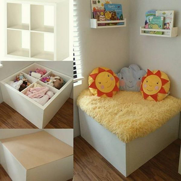 Reading Nook and Toy Storage Made with Kallax 4 x 2 cube and Ikea Spice Racks