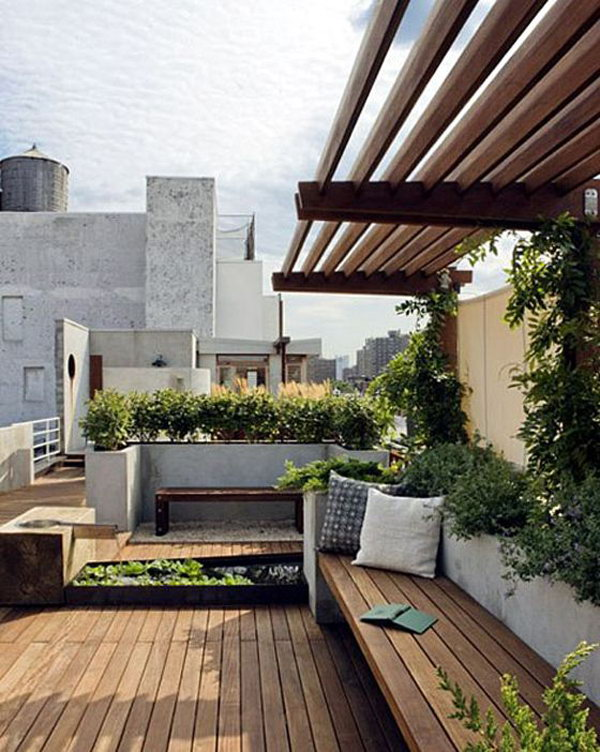 Bench Set Roof Garden