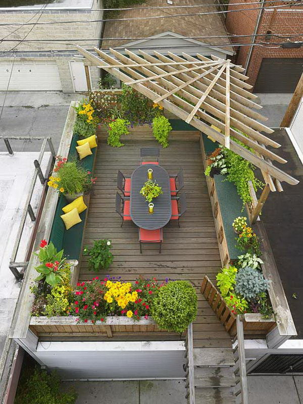 Cool Roof Garden With Partial Pergola