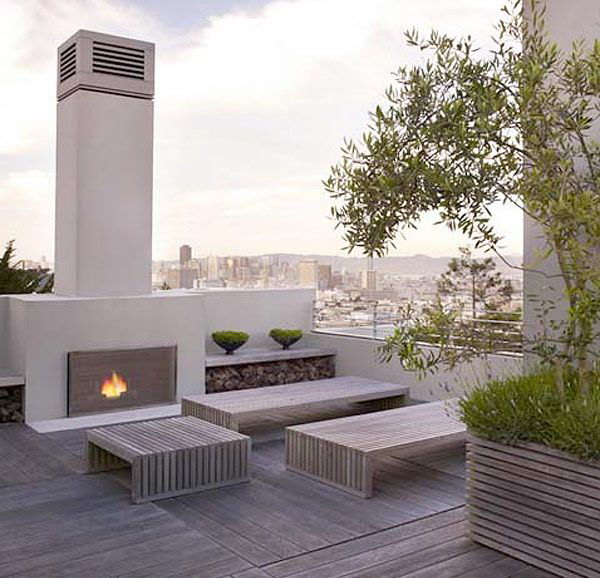 Roof Deck With Outdoor Fireplace
