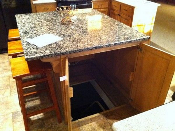 Underground Secret Room in Kitchen Island