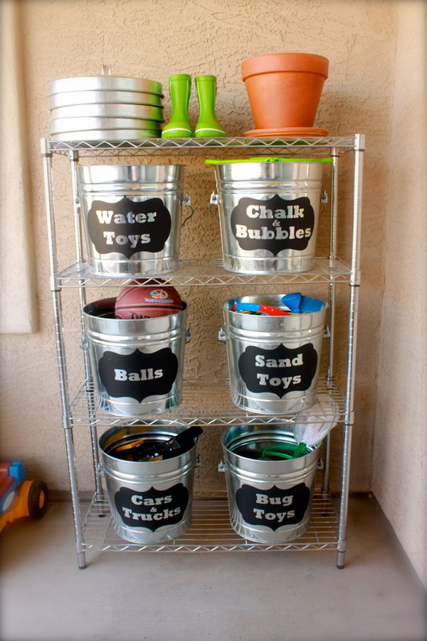 Organize Outside Toys With These Labeled Buckets