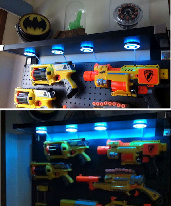 This Nerf Gun Display Case is Perfect for a Boy's Room