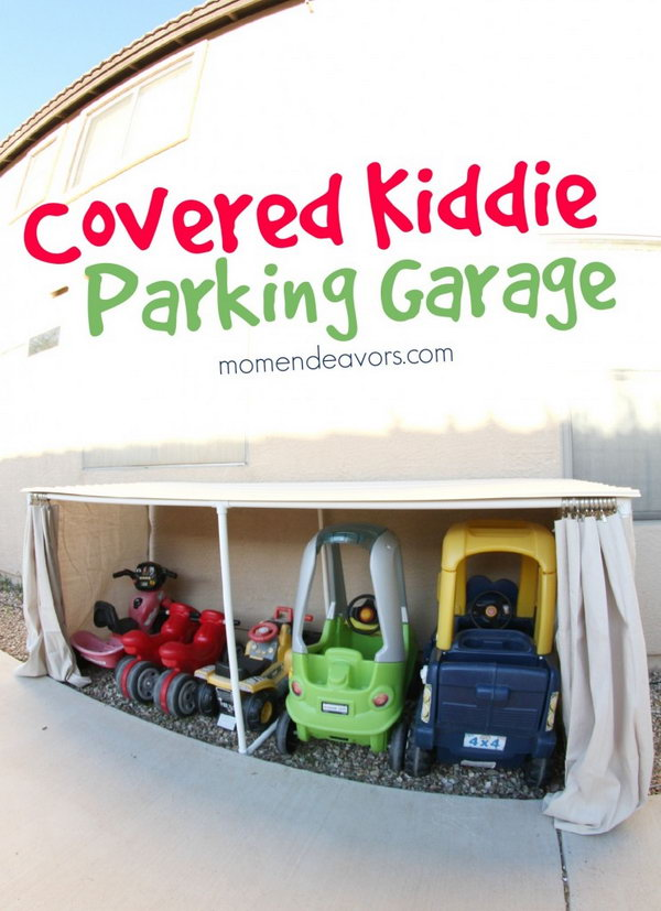 Covered Kiddie Car Parking Garage for Toy Organization