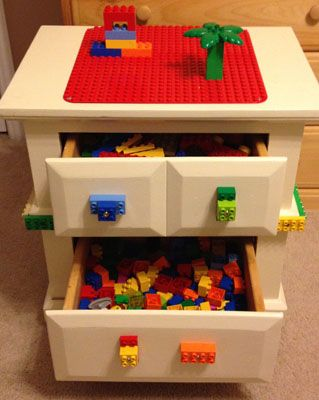 DIY Lego Table Made From Old Side Table.