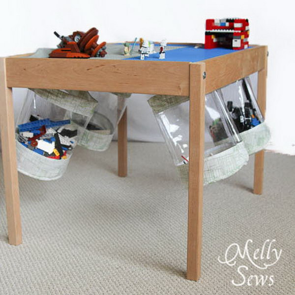 Hold The Fabric Storage Bucket Under The Table For Easy Clean Up