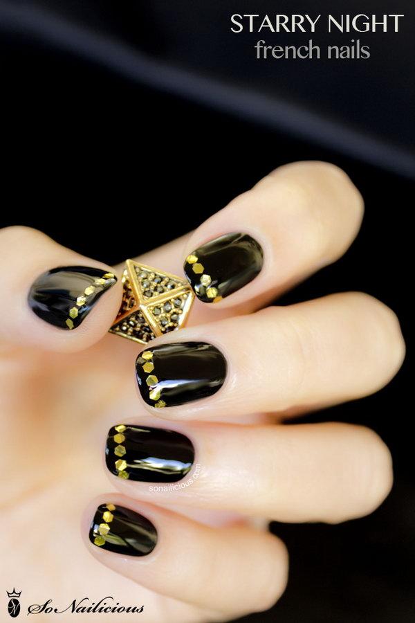10 gold nail designs