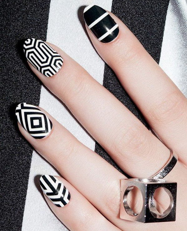 8 black and white nail art