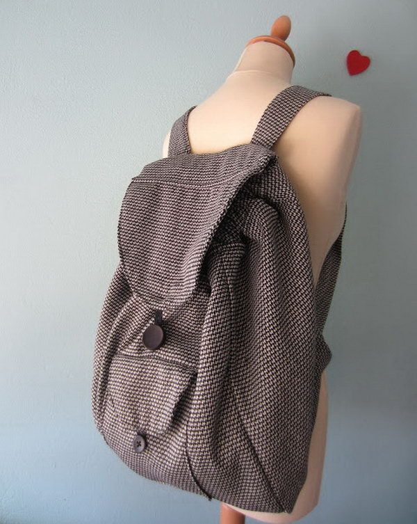 Drawstring Backpack With Flap. Get the tutorial