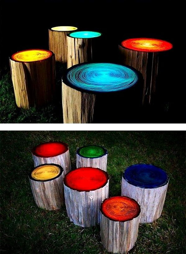 DIY Log Stools  Painted with Glow.