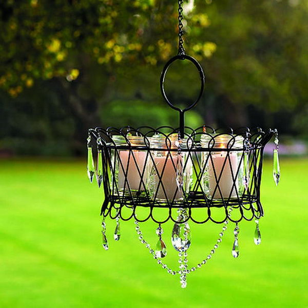Wire Basket Chandeliers for Backyard.