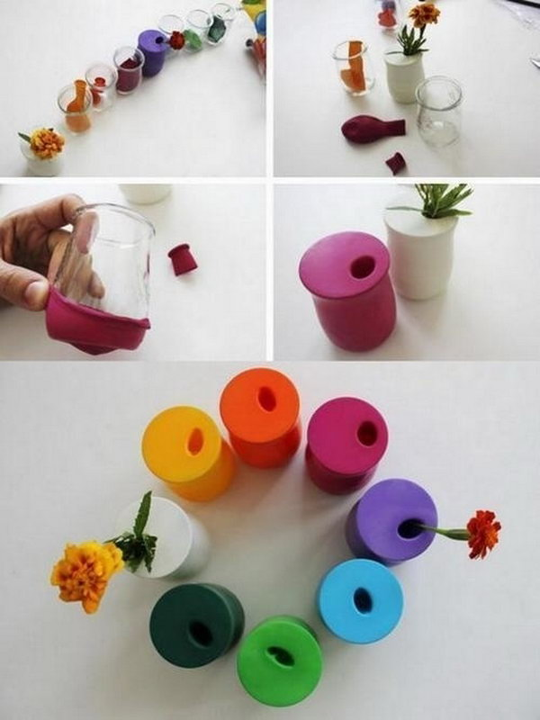 Colorful Vases Made with Balloons.