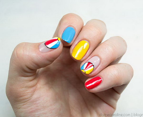 Beach Ball Mani. Playful beach balls in a fun palette of colors evoke endless summer fun.  See the tutorial