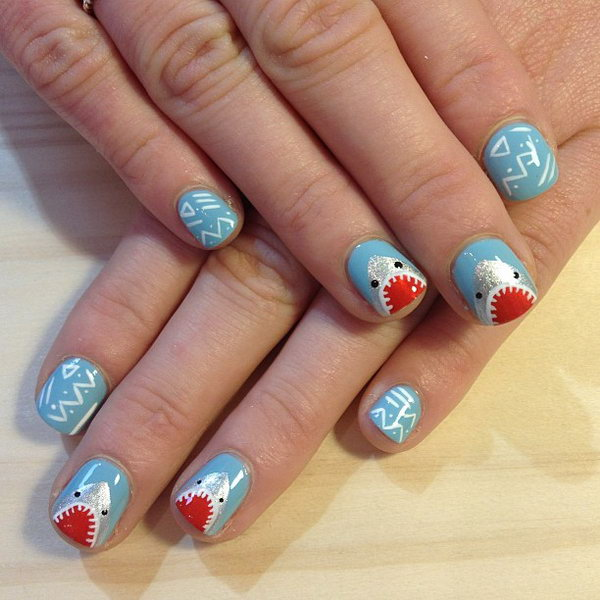 Beachy Nail Design with Sharks.