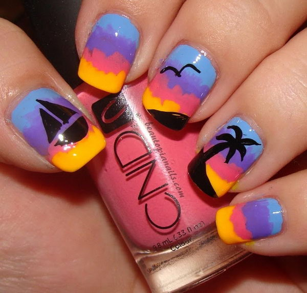 Sailboat and Island Nail Art.