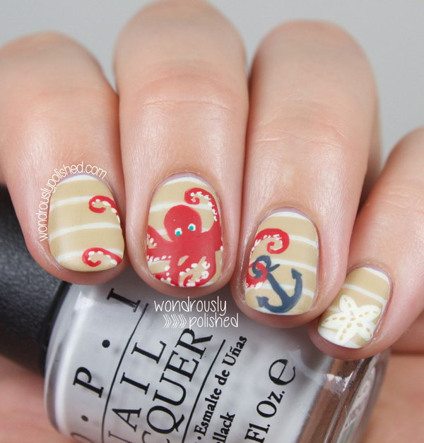 Classic Stripes and Anchor Beach Nails with Octopus.