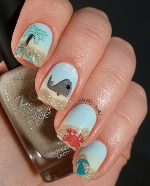 Zoya Blue and Jacquelinee Beach Inspired Nails Featured with Palm trees and Whales. See more directions