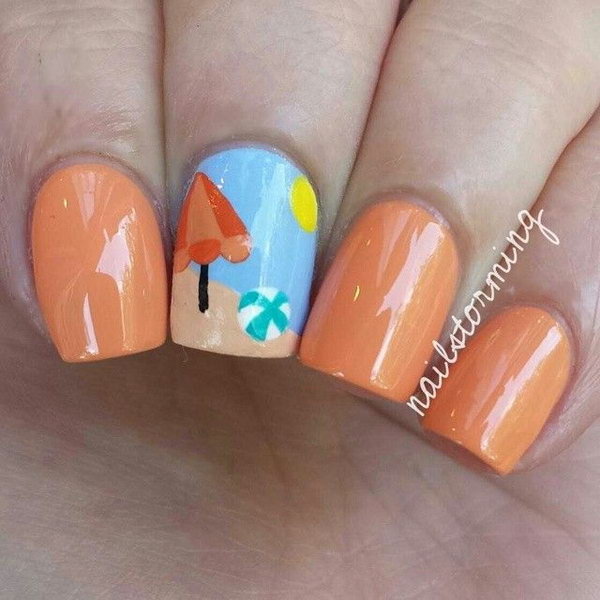 Orange and Light Blue Beach Nails with Ball and Beach Umbrella.