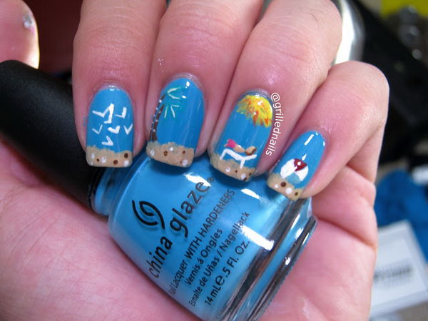 30 Beach Themed Nail Art Designs Noted List