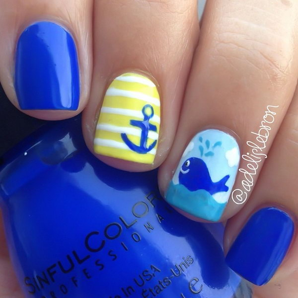Cute Blue Whale Nail Design.