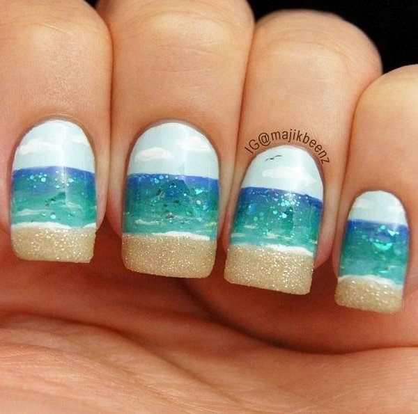 Simple Beach Nail Design with Sky, Ocean and Beach Together.