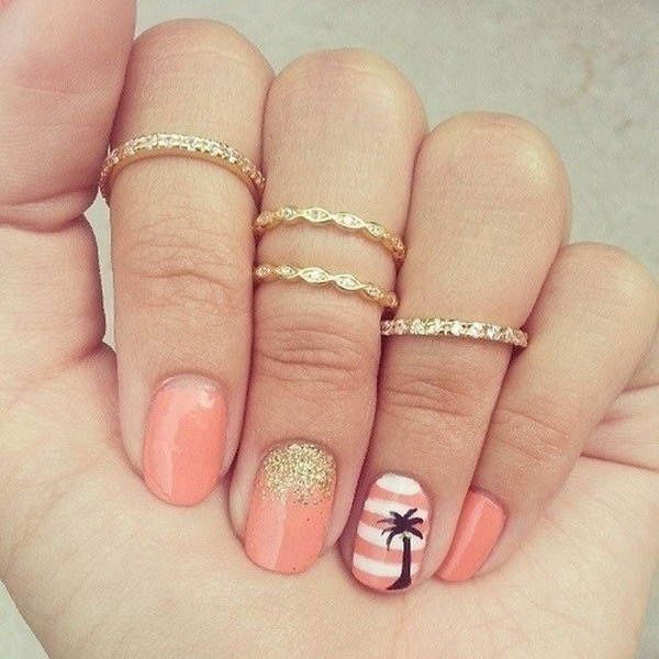 Pink and White Striped Beach Nails with Palm Trees.