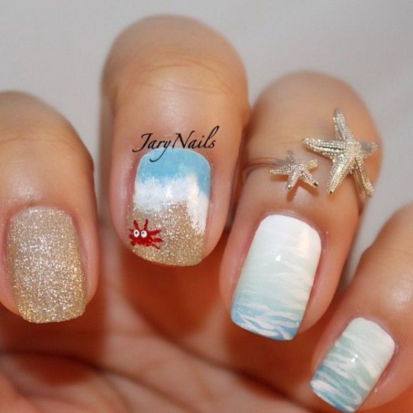 Cute Tiny Crab. The tiny crab accent is a great way to add to the cuteness of this fabulous summer beach nail art design.