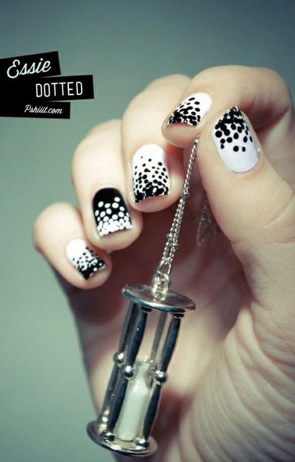 Cute Polka Dot Black and White Nail Designs.
