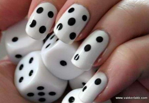 Dice Pattern Black and White Nail Designs.