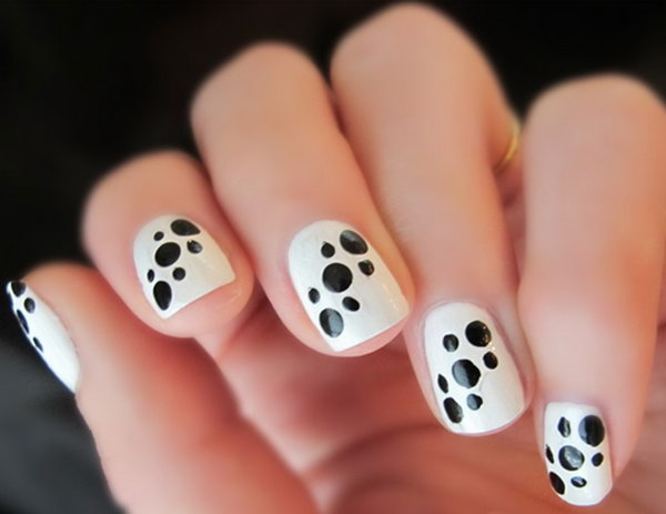 Polka Dots Black White Nail Design Ideas.