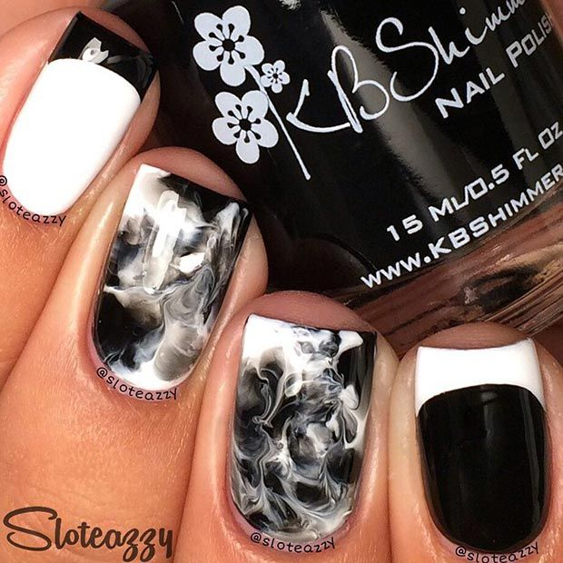 Black and White Marble Nails.