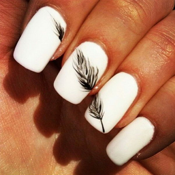 Black and White Nails with Feather.
