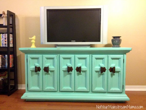 Aqua Chalk Painted Buffet Turned Media Center