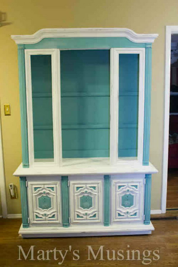 How to Chalk Paint China Hutch