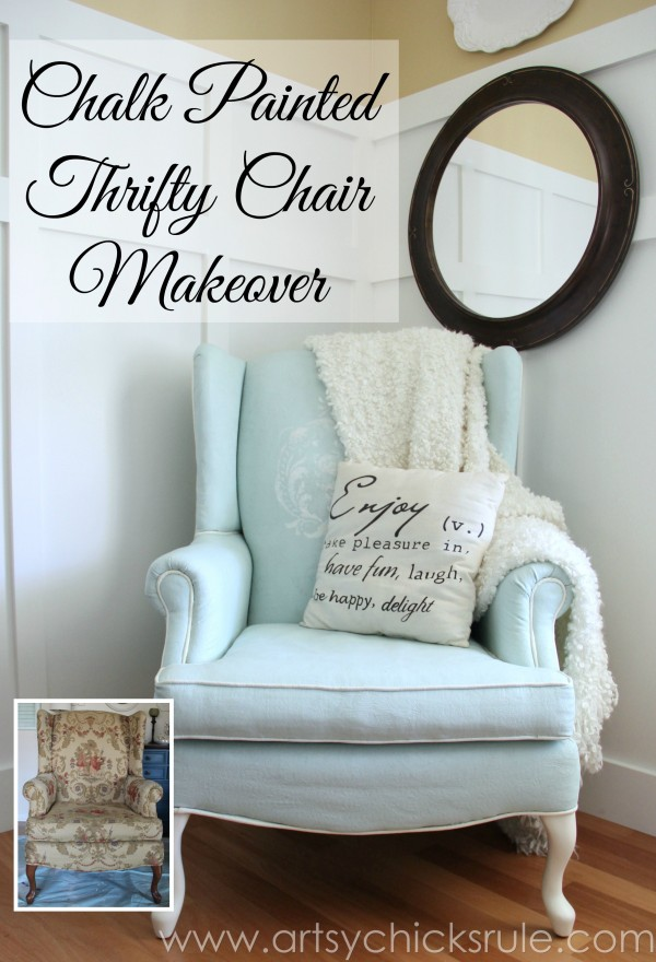 Chalk Painted Upholstered Chair Makeover