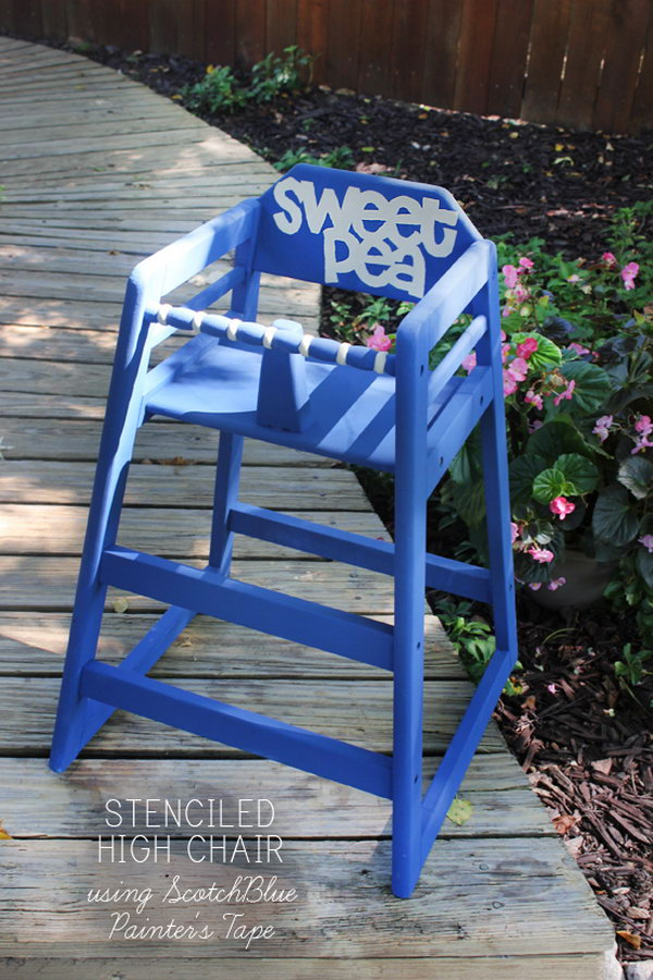 Blue Chalk Paint High Chair for Kids