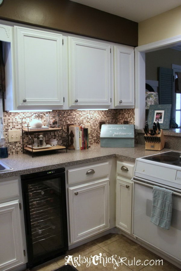 Kitchen Cabinet Makeover Using Chalk Paint