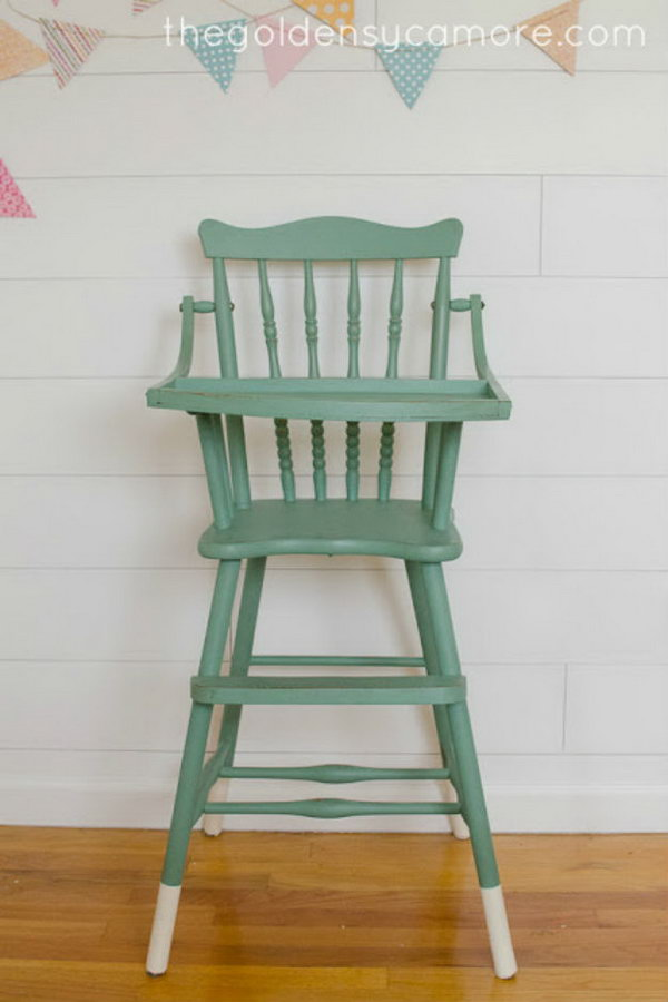 Dipped Leg Vintage Highchair Using Chalk Paint