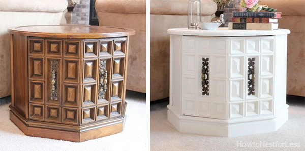 Great Room End Table Makeover Using White Chalk Paint