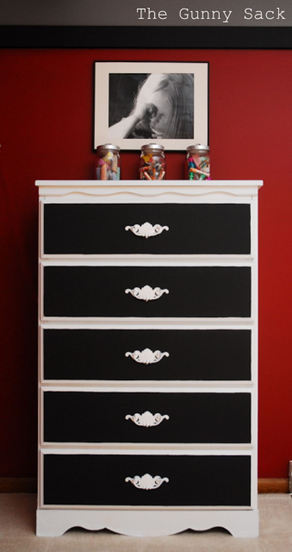 Old Brown Dresser Get a Fresh Look with Black and White Chalk Paint