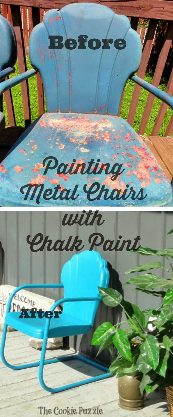Painting Metal Chairs with Chalk Paint