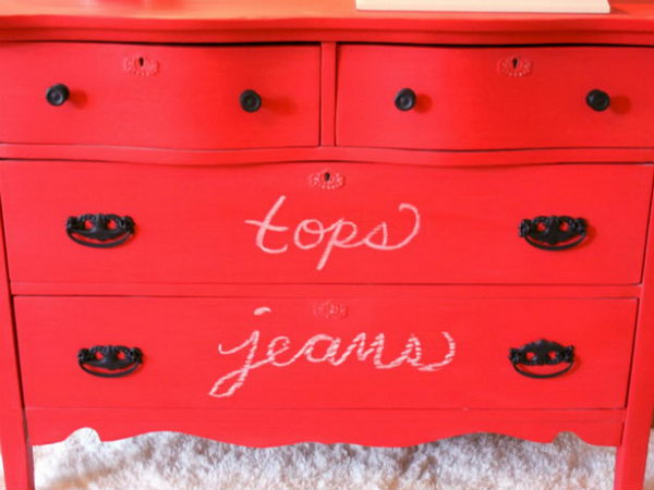 Create a Red Chalkboard Dresser